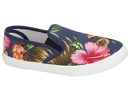 Ladies Palm Beach Floral Tropical Print Canvas Slip On Plimsoll Pumps Casual...