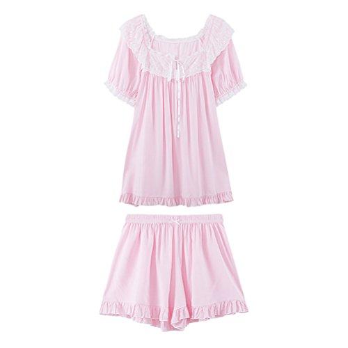 Zhhlaixing Womens Short sleeves Pyjama Set Sleepwear Two pieces Breathable Nightwear Pink
