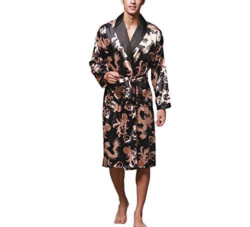 Asskyus Vestido de Kimono de Raso de los Hombres Estilo Largo Ligero de la luz XL, Negro