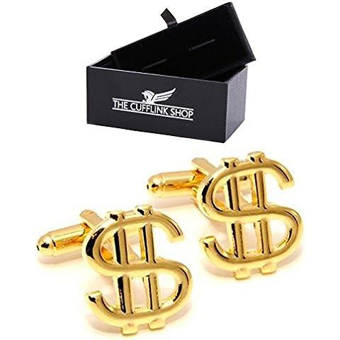 Acciaio inossidabile degli uomini simbolo del dollaro in oro gemelli Regalo di lusso incluso