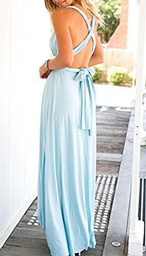 Donna Scollo a V Senza Maniche Senza Schienale Maxi Abito da Sera Partito Lunghe Vestito da spiaggia Cocktail Vestiti Blu