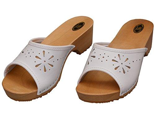 Bawal Donna Zoccoli Zoccoli In Legno Di Cuoio Con Sandali Con Tacco Colorati Colori Vk10 Bianco