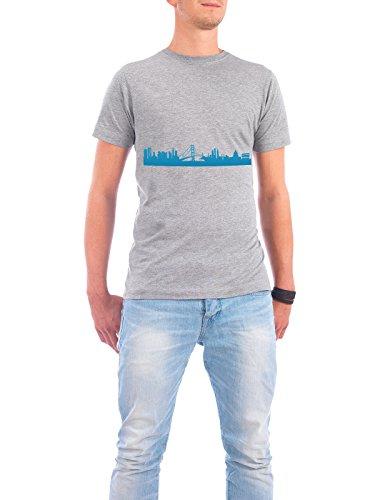"Design T-Shirt Männer Continental Cotton ""SAN FRANCISCO 05 Skyline Print monochrome Teal"" - stylisches Shirt Abstrakt Städte Städte / San Francisco von 44spaces Grau"