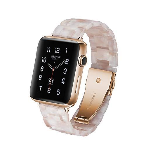 MTSBW Für Iwatch Band, Mode Harz Apple Watch Band Ersatz Erbaut In Edelstahl Schnalle Mit Link Pins Für Serie 4 3 2 1,44Mm