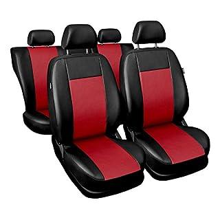 Universal Rot Kunsleder Sitzbezüge Komplettset Sitzbezug für Auto Sitzschoner Set Schonbezüge Autositz Autositzbezüge Sitzauflagen Sitzschutz Comfort