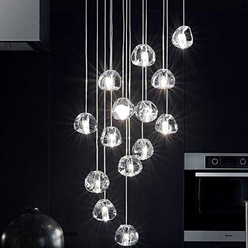 Moderne led kristall pendelleuchten beleuchtung große hotel restaurant treppe hängen lichter wohnzimmer cristal lampen luminaria, 3 köpfe, warmweiß -