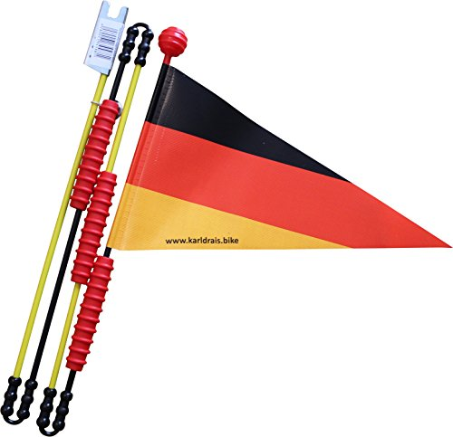 Karl Drais ® Fahrradfahne Deutschland Fahrradwimpel   Deutschlandflagge Langlebig und Stabil aus Heavy Duty LKW Plane   Sicherheitswimpel Fahrrad Wimpel (Kinder-fahrrad Sicherheit Flagge)