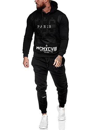 Leder Herren Jogging Anzug Jacke Sport Hose Fitness Hoodie Hose S16 S-XXL schwarz XXL
