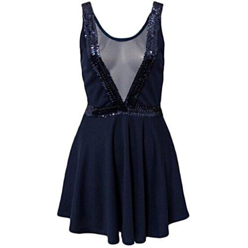 Waooh - Abendkleid Mit Pailletten Bech Marineblau