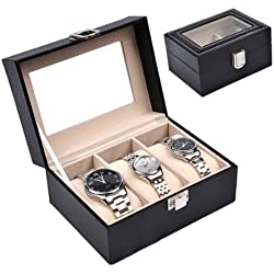 HQdeal Watch Box for 3 Watches PU Large Compartments Transparent Window Soft Cushions Black