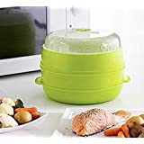 InnovaGoods - Vaporiera Doppia per microonde Fresh, 22 x 12/17 cm, Colore Verde
