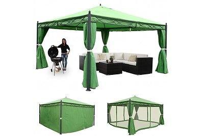 Garten Pavillon Pergola 4x4 m grün stabil Moskitonetz Gartenzelt Partyzelt neu
