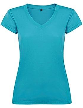 Camiseta de mujer con manga corta, escote en cuello de pico y acabados en ribete acanalado. -ROLY
