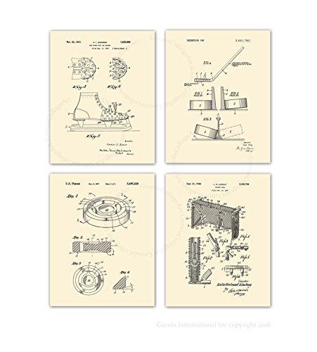 Gnosis Picture Archive Eishockey Patente Art Prints Set von 420,3x 25,4cm Creme Beige gerahmt Kunstdrucke Jungen Eishockey Kinderzimmer Wanddekoration