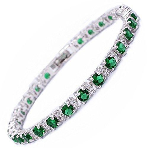 Armband [18cm/7inch] mit Rundschliff Edelstein Zirkonia CZ [Grün Smaragd] in 18K Weißgold Vergoldet, Einfache Moderne Eleganz ()