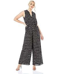bb85a3d55b Roman Originals Women Polka Dot Button Down Jumpsuit - Ladies Christmas  Party Going Out Foil Print