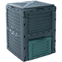 Composteur, poubelle à compost de jardin, verte, 300l, 83x 61x 61cm