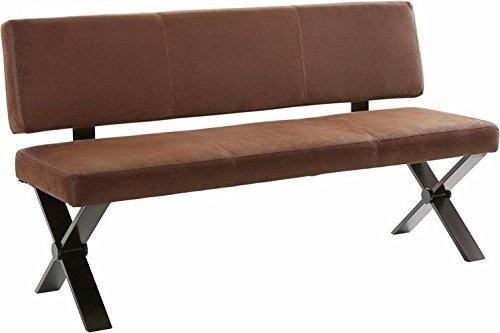 Homexperts Küchenbank COLT / Sitzbank mit Rückenlehne 140 cm breit im Vintage Look Braun / Gepolsterte Bank mit Nosagfederung und hohem Sitzkomfort / Gestell Metall schwarz / 141x91x60cm (BxHxT)