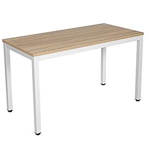 VASAGLE Computertisch, großer Schreibtisch, PC-Tisch, Bürotisch, Arbeitstisch für Home Office und Büro, verstellbare Bodengleiter, leicht montiert, 120 x 76 x 60 cm, Holzfarben, Weiß LWD64N
