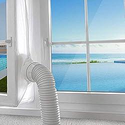AGPTEK 400CM Joint de Fenêtre Tissu de Calfeutrage Résistant à l'eau Pour Toutes Climatisation Mobiles Sèche-linge et Déshumidificateurs avec Fermeture à Glissière Ruban Adhésif Installation Facile