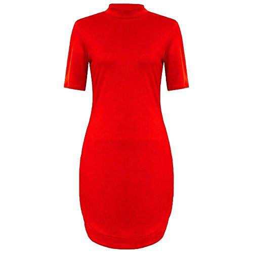 Janisramone - Robe - Robe tunique - Uni - Manches Courtes - Femme * Small red