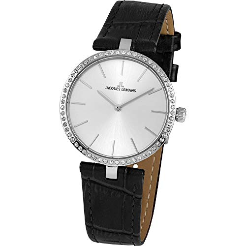 Jacques Lemans Women's Milano 34mm Black Leather Band Quartz Watch 1-2024H