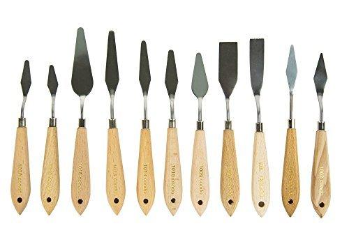 CONDA Juego Profesional de 11 Piezas de Espátulas de Acero con mango de madera para Pintura