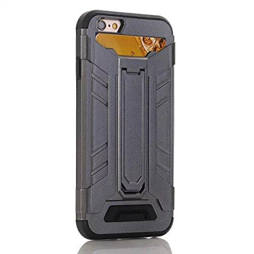 iPhone 7 Plus Coque, Lantier Refroidir design multifonctionnel Slim Fit Protection Dual Layer couverture portefeuille avec Béquille et emplacement de carte pour iPhone 7 Plus (5,5 pouces) gris Grey