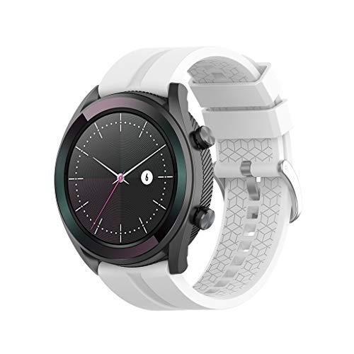 Marxways Uhrenarmband, Soft Silicone Ersatz Armband Armband-justierbares Uhrenarmband- Mode sportuhr Band für Huawei Watch GT 42mm (Weiß) 42 Mm Kit