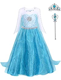 FONLAM Disfraz de Princesa Vestido Largo Fiesta Niña Ceremonia Vestido Infantil Cumpleaños Niña Carnaval
