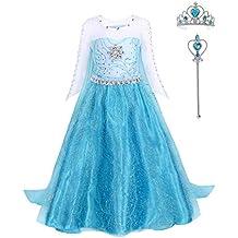 145d133ad FONLAM Disfraz de Princesa Vestido Largo Fiesta Niña Ceremonia Vestido  Infantil Cumpleaños Niña Carnaval