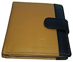 NUKAICHAU Tan Black Single Fold Mens Leather Wallet