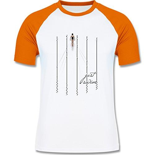 Wassersport - Just swim - zweifarbiges Baseballshirt für Männer Weiß/Orange