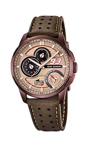 Lotus Marc Marquez Collection 2015 Men's Quartz Watch with Beige Dial Analogue Display and Brown Leather Strap 18243/2