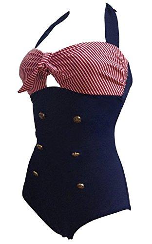 Frauen 50's Vintage Damen Retro Bandeau One Piece Bademode  High Waist Plus Size Badeanzug Bauchweg, rot- blau, XXL -
