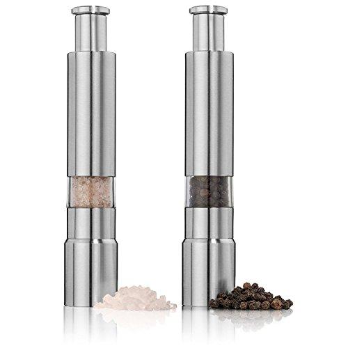 EVIICC Manuelle Salz und Pfefferstreuer aus Edelstahl mit Einstellbarem Keramikmahlwerk und Sichtfenster Silber(2 Stk)