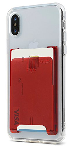 Ringke Slot Card Holder [Ruby Red] Handy Kartenhalter 3M Befestigung Kartenetui für Galaxy Note 9, Note 8, S9, S9 Plus, iPhone X, XS Max, Xr, iPhone 8 Plus, iPhone 7, Huawei P20, Pixel, LG, Usw Ruby Red Handy