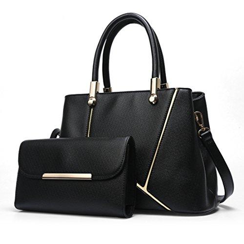 Mataga Fashion Pu Borsa Per Le Donne Carry Shoulder Bags Per Borse Da Donna + Chain Bag Jh-502 Black