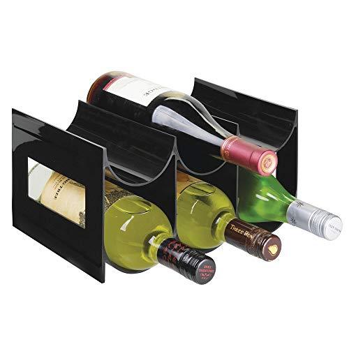 mDesign praktisches Wein- und Flaschenregal - Weinregal Kunststoff für bis zu 6 Flaschen - freistehendes Regal für Weinflaschen oder andere Getränke - schwarz