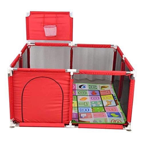NMDCDH Spielzeug Baby-Spiel-Zaun für Kinder, Kindersicherheits-Spiel-Center-Yard-Sicherheit Portable mit Matte und Basketball-Schrei, Haushalts-Innen- und Außenspiele, einfach zusammengebaut