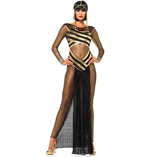 XSH Sexy Halloween Dress Up Griechische Göttin Cleopatra Kostüm Cos Prom Hexe Spiel Uniform,Schwarz,M (Cleopatra Dress Up Kostüm)