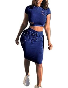 SKY Celebrate for the Summer Day !!! Mujeres La chaqueta del ms agujero de la manera vestido de dos piezas Azul