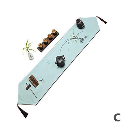 TTQIAOHUA Tischläufer Hand Bemalt Wasserdichte Esstisch Couchtisch Tv Schrank Bett Handtuch Baumwolle 210X30 cm C
