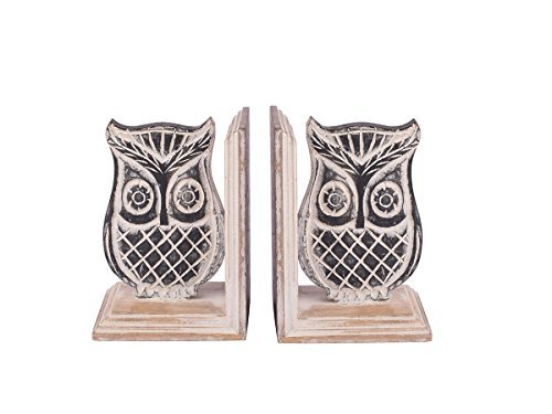 Store Indya, Lot de 2 Decorative main en bois sculpte avec Mango Owl Designs Finish livre Support a fin Bookshelf Organizer Home Office Decor