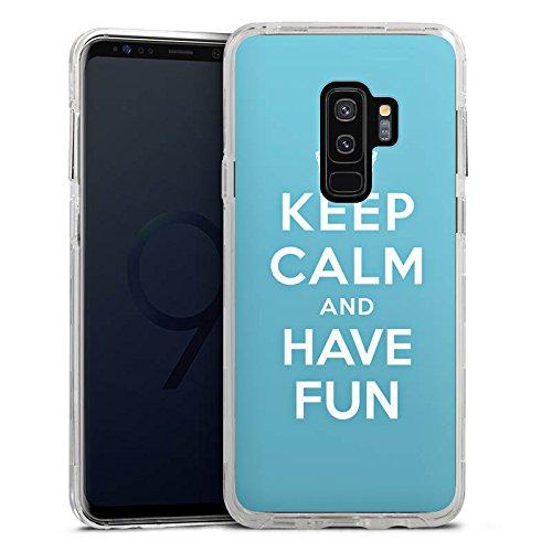 DeinDesign Samsung Galaxy S9 Plus Bumper Hülle transparent Bumper Case Schutzhülle Keep Calm Fun Phrase
