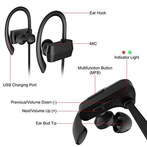 Sunvito Bluetooth V4.1 Headset, Sweatproof Sport drahtloser Kopfhörer In-Ear-Ohrhörer mit Mikrofon für Lauftraining Gym (Stereo, Geräusch-Annullierung, 6 Stunden Spielzeit, Sichere Ohrbügel Design) - 2
