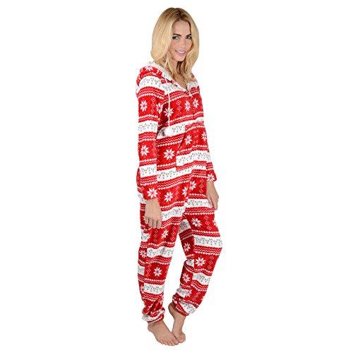 Damen Fleece Einteiler Pyjama mit Schneeflocken Muster – Roter Onesie - 4