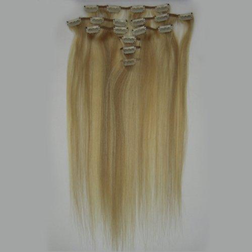 100% cheveux remy Lot de 8 Blond 38,1 cm Highlight (# 18/613) cheveux raides à clipser pour extension de cheveux Poids : 100 g