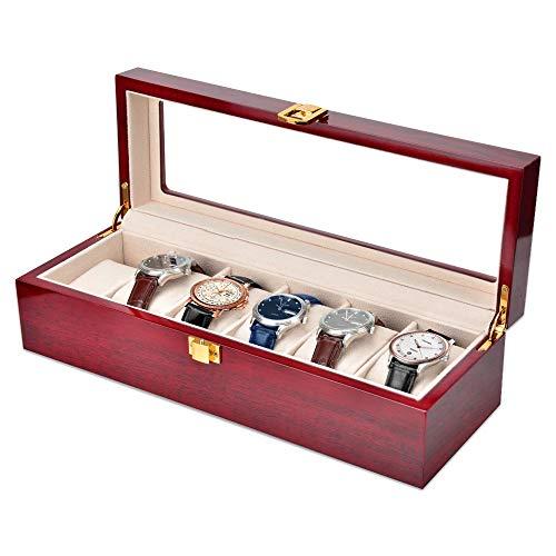 OTraki Uhrenbox für 6 Uhren Kasten Speicher mit Glasdeckel aus PU-Leder Rot EINWEG