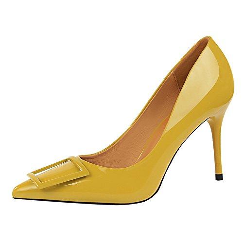 Chaussures Femme Dimaol En Simili-cuir Printemps Automne Talons Confort Stiletto Talon Point À Robe Kaki Vert Rouge Noir Jaune Jaune